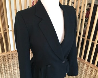 Vintage Christian Dior Black Wool Fitted Jacket with Peplem