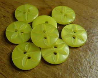 "16 Yellow Spiral Flower Round Buttons Size 9/16""."