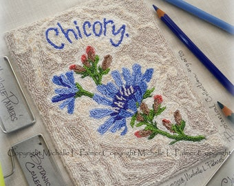 Chicory Flower No. 9 in Botanical Collection Punch Needle Embroidery DIGITAL Jpeg and PDF PATTERN Michelle Palmer Painting with Threads