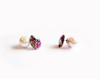 two way earrings, sparkle gem post with pearl backing