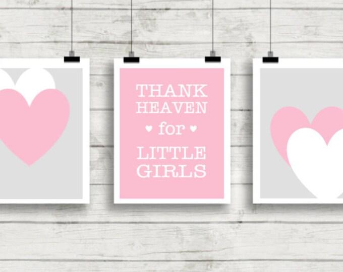 Nursery Wall Art, Girl Nursery Art, Pink Nursery Wall Art,Thank Heaven for Little Girls, PRINTABLE