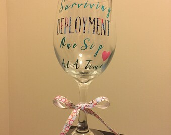 Lilly Pultizer Inspired Coast Guard/Army/Navy/Marines/Air Force/Military Deployment Wine Glass