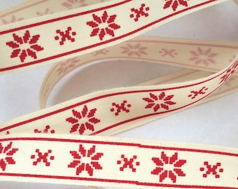 Ribbon decorative Christmas: Star Red jacquard on an ecru background