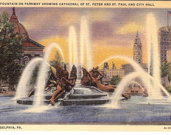 Vintage Linen Postcard..Pennsylvania, Philadelphia, Fountain on Pkwy Showing Cathedral St. Peter and St. Paul...Unused...no PA0048