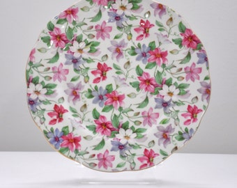Discontinued Vintage Summer Glory Salad/Dessert Plate by Royal Albert / Bone China / England / 1940s