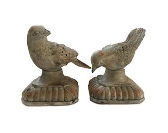 Vintage Pair of Doves on Pedestals / Bird Dove Pedestals Home Decor / Chippy Pair of Doves