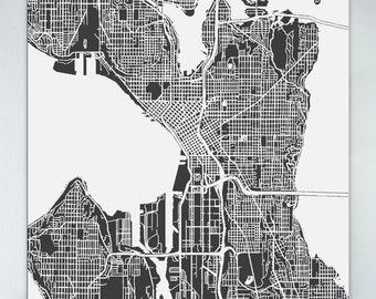 Large map of seattle Etsy