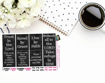 Planner Stickers  Scripture Stickers on chalkboard background Full Box Scripture Stickers Faith Stickers  RB002-V