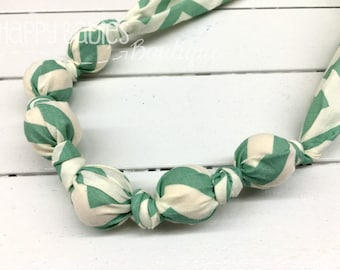 Organic Cotton Nursing Teething Necklace, Jade Chevron