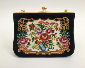 Vintage 90s Embroidered Floral Folk Art Handbag with Kiss Lock Clasp