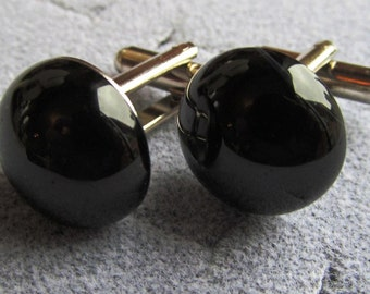 Cuff Links 16mm Round Natural Black Onyx Cabochon
