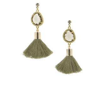 Olive Green Tassel Earrings   Olive Drops   bizu ビーズ