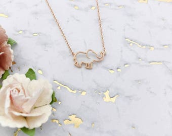 Rose Gold Elephant Dainty Necklace