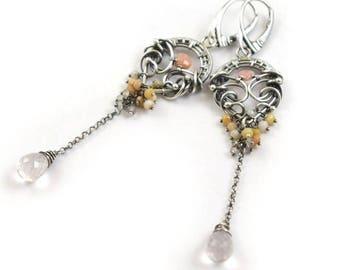 Wire wrapped pink earring, silver earring, luxury gemstone jewelry, long romantic earring