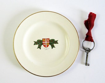 Vintage Newfoundland Tartan China Plate - Canadian Province Souvenir Plate - NFLD Coat of Arms - Green Tartan Home Decor - White China Plate