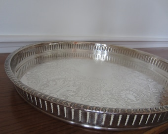 Large round silver serving gallery tray.  Cocktail party tray.  Silver bar galley tray.