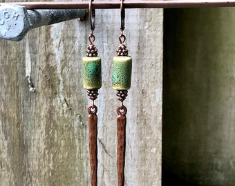 Copper Earrings, Green Earrings, Ceramic Earrings, Rustic Earrings, Boho Earrings, Earthy Earrings, Nature Earrings, Long Earrings