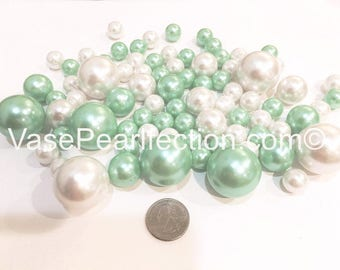 Mint Blue & White Pearls - Jumbo/Assorted Sizes Vase Fillers for Centerpieces