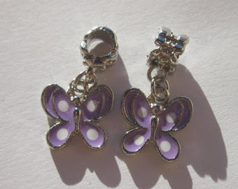 2 charms 14 m with bail (48 FR1) colorful metal Butterfly
