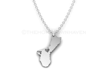 Guam Necklace - I heart Guam necklace, Island pride, Pacific Islander, Chamorro, Island girl