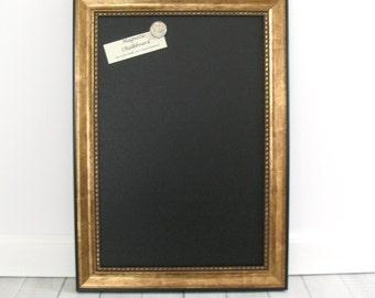 Large MAGNETIC CHALKBOARD FRAMED Wedding Kitchen Blackboard Photo Memo Antique Gold Black Frame Restaurant Chalk Board Marker Magnet 12/18