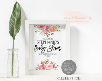 Baby Shower Welcome Sign Printable, Shower Welcome Sign Instant Download, Baby Shower Welcome Sign PDF, Custom Welcome Sign DIY, SD02