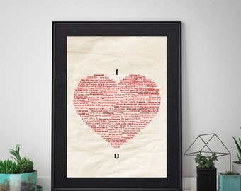 I love you, love in 100 languages, typography, valentine's day, heart typography , typography print,  typography poster, typography wall art