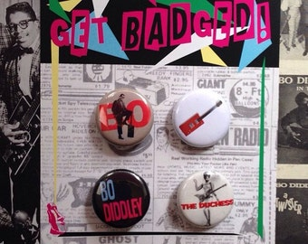 Bo Diddley 1 inch button set of four