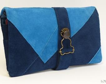 Companion 2 blue velvet leather: checkbook / wallet holder / card holder