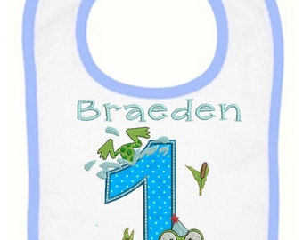 Frog Hop Birthday Bib Personalized for your child(3042)