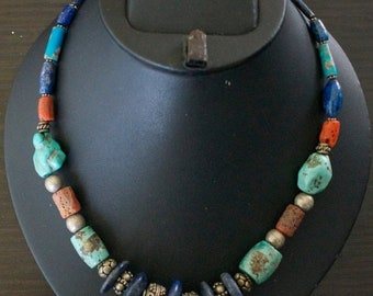 ON SALE Spectacular TUQUOISE Lapis Lazuli Coral Silver Necklace