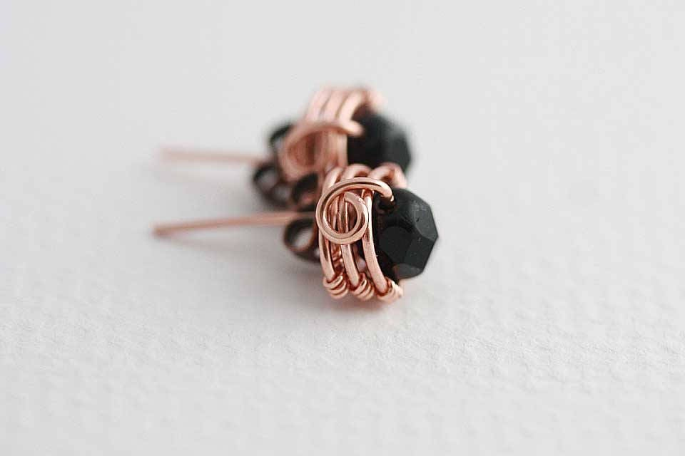 Wire Wrap tutorial Mulberry post earrings tutorial Instant