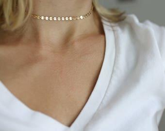 Aubrey Choker, gold choker, dainty choker necklace, gold coin choker, gold choker necklace, gold choker 14k, gold choker chain, choker