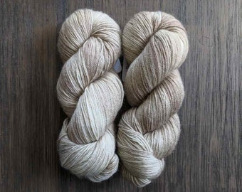 Hand Dyed Yarn - 'Birch' - Everest Sock - 80/20 Superwash BFL/Nylon - Sock Yarn - beige semi tonal 420 yards