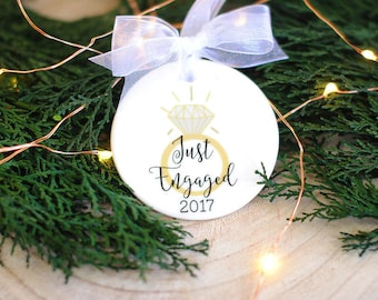 Just Engaged Christmas Ornament - Our First Christmas Ornament - Engagement Gifts, Just Engaged Xmas Ornament, Xmas Gift, Holiday Decoration