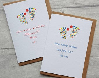 Pack of gender neutral baby shower or baby thank you cards - bright colours - new baby card - baby footprint - baby thank you - rainbow baby