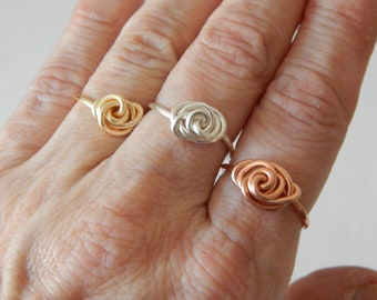 Wire rose ring, boho style, everyday ring, festival chic jewelry, dainty ring