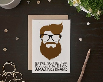 Beard Card - Funny Beard Card - Valentine's Day Card - Funny Valentine Card - Beard Anniversary Card - Beard Birthday Card