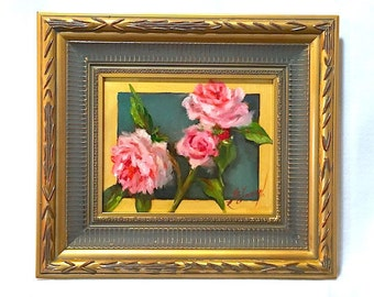 Painting on canvas, roses, Mother's day gift, original painting, canvas, pink roses, oil painting, gift for mom, flower painting, rose
