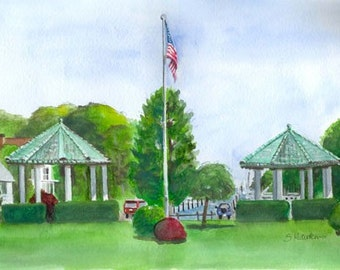 Brightwaters Marina - watercolor, fine art print, Long Island, brightwaters gazebos