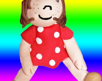 3D Raggedy Doll Edible Cake Topper, Red Dress with White Polka Dots