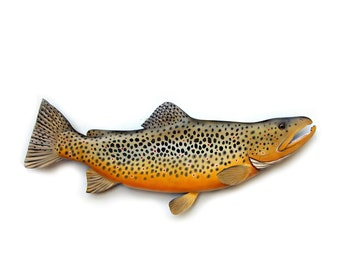 BROWN TROUT 28'' wooden fish carving, fishing decor, gift for him, fish wall mount,  fish art,  Christmas fishing gift,