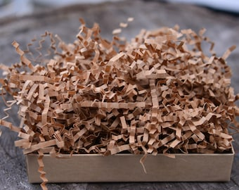 Shredded Paper - 8 oz Kraft Brown Recycled Paper Shred - Krinkle Cut Gift Paper Filler - Fragile Packing Material - Jewelry Box Pakcaging