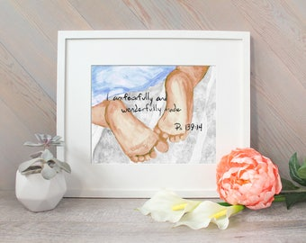 Fearfully and Wonderfully Made watercolor print, Christian Nursery Art, Scripture Psalm 139:14, Bible Verse handlettering