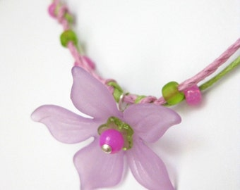 Pink and Green Necklace with Large Flower, Medium Girls necklace, GN 126