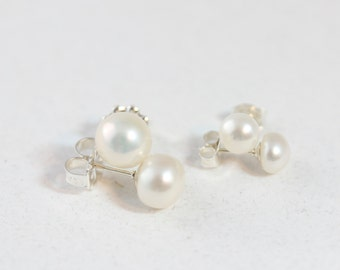 Large Medium Pearl Studs, Large Pearl Studs, White, Classic Pearl Earrings, Pearl Button Earring, Sterling Silver