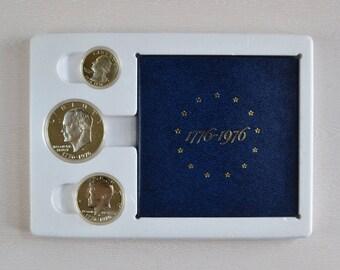 1976 United States Bicentennial 40% Silver 3 Coin Proof Set (Dollar, Half Dollar, Quarter) in Original US Mint Packaging