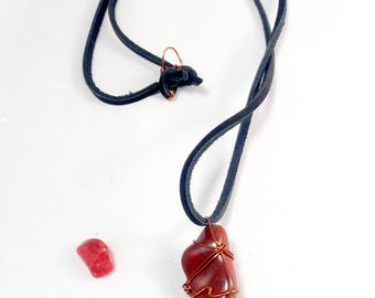 Red Jasper Wire Wrapped Necklace/ Root Chakra Healing