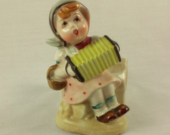 Small Indoor Planter, Accordion Girl Figurine, Vintage 1940's Porcelain, Kitschy Herb Garden Planter, Made in Occupied Japan