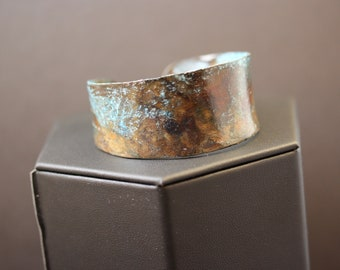 Blue Patina Copper Anticlastic Cuff Bracelet (052018-026)